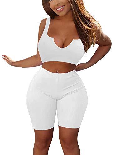 - MIZOCI Women's Bodycon 2 Piece Outfits Sexy Sleeveless Crop Tank Top Shorts Pants,Small,White