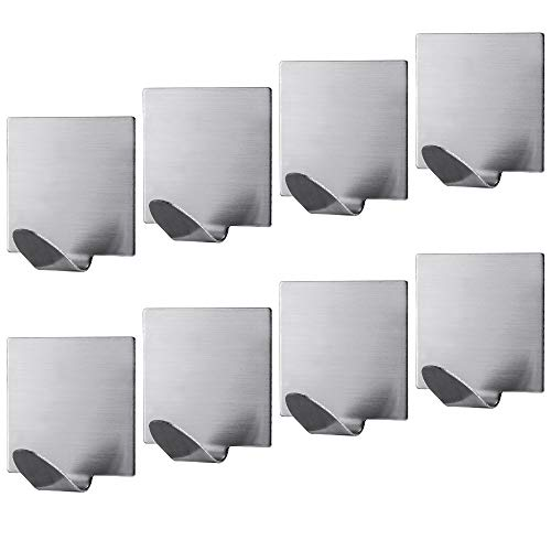 Jekoo Adhesive Hooks Heavy Duty, Adhesive Wall Hangers Sticky Hooks with Stainless Steel Ultra Strong Rustproof and Waterproof for Bathroom Kitchen Office Toilet Garage and All Smooth Surfaces-8 Packs