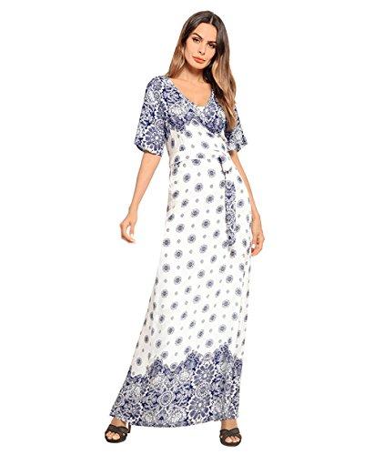 Plage Casual Midi Blue Blue Baggy D't Femmes Casual Imprimer Maxi Taille Kitzen Fente Robes Lche Belle Fente Robe 6TxfWEPq