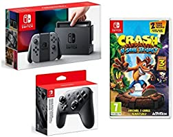 Nintendo Switch Grey, Crash Bandicoot & Pro Controller
