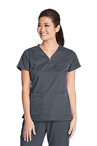Grey's Anatomy 41340 V-Neck Yoke Top Granite XL