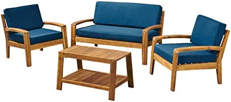 Great Deal Furniture Sally Patio Conversation Set with Coffee Table, 4-Seater, Acacia Wood, Teak Finish with Teal Outdoor Cushions