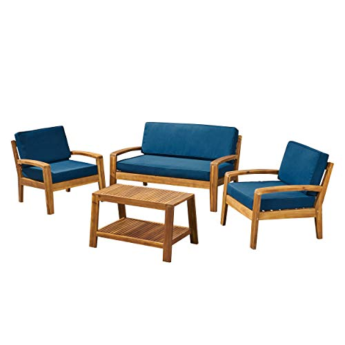 - Great Deal Furniture Sally Patio Conversation Set with Coffee Table, 4-Seater, Acacia Wood, Teak Finish with Teal Outdoor Cushions
