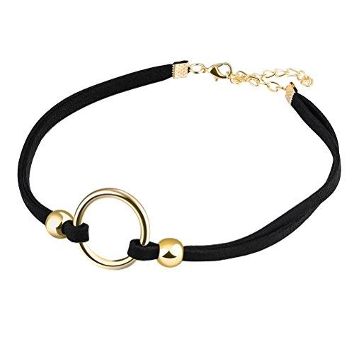 PAURO Women's Classic Black Stretch Velvet Ribbon Choker Bead Necklace for Girls, Adjustable Length Gold Chain ()