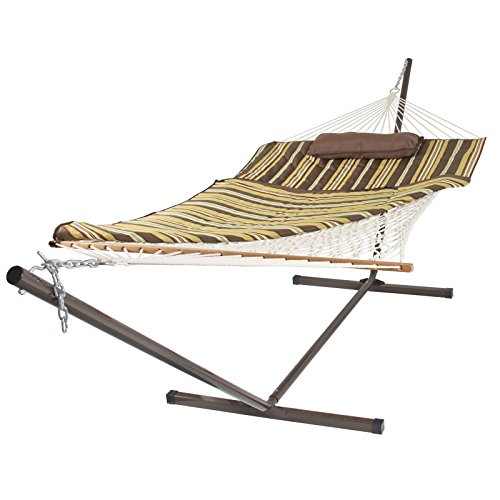 Cotton Rope Hammock & 12 Feet Steel Stand Combo w/ Stripe Pad and Pillow by AUEY
