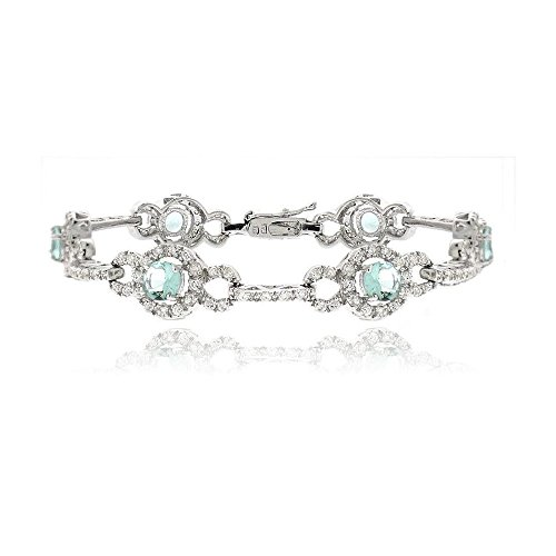 Sterling Silver 4.25Ct Caribbean Mist & Clear Cubic Zirconia Circle And Bar Link Bracelet, 7.25'' (Caribbean Silver Mist Sterling)