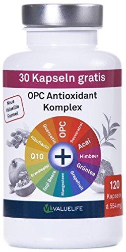 OPC Antioxidant Komplex: OPC vereint mit 11 weiteren Antioxidantien. Resveratrol, Acai, Raspberry Ketone, Grüner Tee und mehr. 120 Kapseln à 554mg (1x66g). Ohne künstliche Füllstoffe.