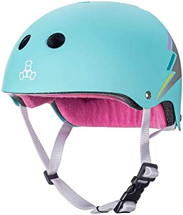Large//X-Large Purple Glossy and Roller Skating Triple Eight The Certified Sweatsaver Helmet for Skateboarding BMX