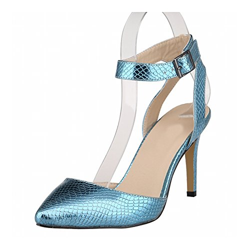 zhuhaixmy damen frau krokodil muster stitching hohl stiletto high heels single schuhe blue - Geschaftsbesorgungsvertrag Muster