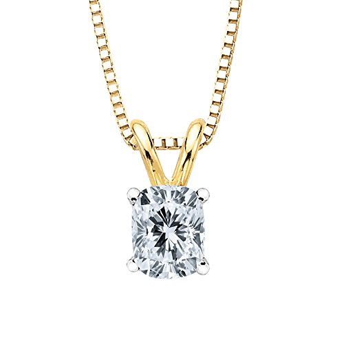 GIA Certified 0.92 ct. G - SI1 Cushion Cut Diamond Solitaire Pendant Necklace in 14K Yellow (Si1 Cushion Cut Diamond Solitaire)