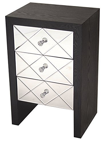 "Heather Ann Creations Wooden 3 Drawer Chest/Console with Front Beveled Mirrored and Accent Finish, 28"" x 17.7"", Black"