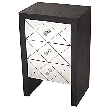 """Heather Ann Creations Wooden 3 Drawer Chest/Console with Front Beveled Mirrored and Accent Finish, 28"""" x 17.7"""", Black"""