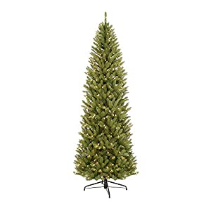 Puleo International 10-Foot Pre-Lit Fraser Fir Pencil, 2436 Tips, 650 UL Clear Lights,Extension Cord, Hinged, Metal Stand Artificial Christmas Tree, Ft, Green 104