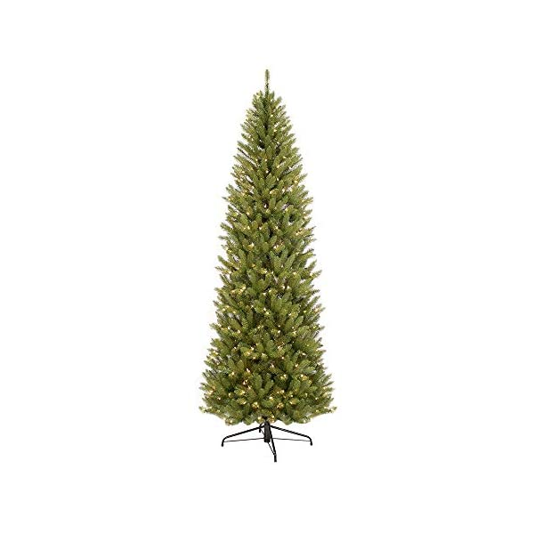 Puleo-International-10-Foot-Pre-Lit-Fraser-Fir-Pencil-2436-Tips-650-UL-Clear-LightsExtension-Cord-Hinged-Metal-Stand-Artificial-Christmas-Tree-Ft-Green