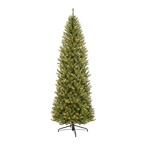 Puleo International 7.5 Foot Pre-Lit Fraser Fir Pencil Artificial Christmas Tree with 350 UL Listed Clear Lights, Green (Artificial Tall Trees Christmas Thin)