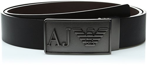 Armani Jeans Men's Reversible Belt with Plate Logo, Black, One Size (Armani Jeans Leather Belt)