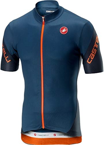 Castelli Men's Entrata 3 Full Zip Bike Jersey (Light Steel Blue, XX-Large)