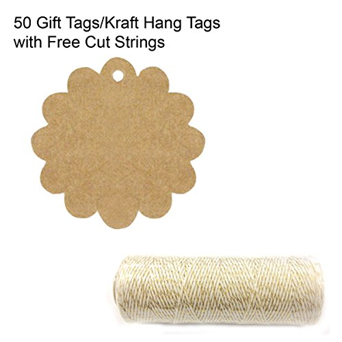- Wrapables 50 Flower Gift Tags/Kraft Hang Tags with Free Cut Strings for Gifts, Crafts & Price Tags + Cotton Baker's Twine 4ply 110 Yard, Metallic Gold