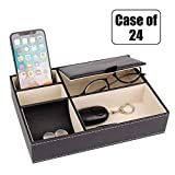 Baoyun case of 24, Men's Valet Organizer Tray - nightstand catchall Tray with 5 Compartment for Sunglasses, Cell Phone, Coins, Wallet and Keys