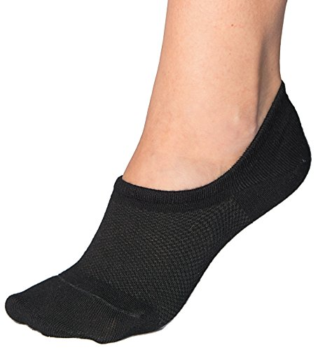 Bam&bü Women's Premium Bamboo No Show Casual Socks - 3 pairs - Black - Medium Black 3 Pair Pack
