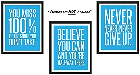 The Proverbs Store Dont Give Up 3 Poster Set Motivational Inspirational Quote Wall Workout Sports Art Boy Girl Teen Fitness Wall Home Decor UNFRAMED Office Classroom Dorm Room Gym Entrepreneur 8 x 10 Red