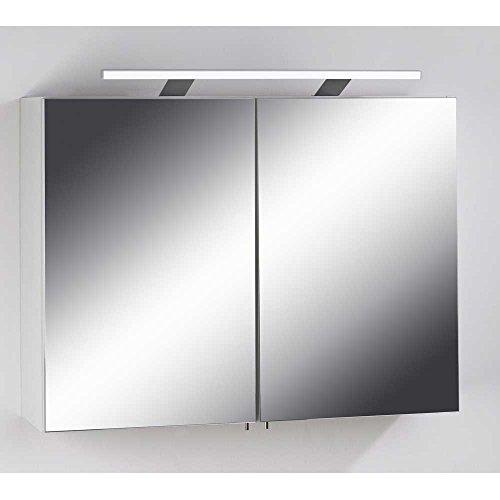 Pharao24 Badezimmer Spiegelschrank in Weiß 80 cm Breit: Amazon.de ...