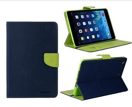 Sparkling Trends Mercury Goospery Fancy Diary Wallet Flip Cover Case for Apple Ipad Air 2 Air2 Blue