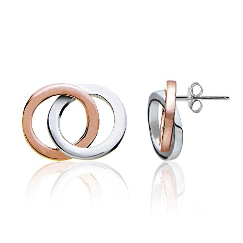 Hoops & Loops Rose Gold Flash Sterling Silver Two-Tone Double Circle Polished Stud Earrings Circle Two Tone Earrings