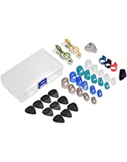 Guitar Accessories Kit Includes 20pcs Silicone Guitar Finger Protectors + 10pcs Guitar Picks + 4pcs Thumb & Finger Picks + Pick Holder + 2pcs Music Page Clips with Plastic Storage Box for Acoustic