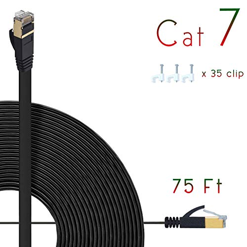 Cat7 Ethernet Cable 75ft Flat High Speed Shielded (STP) Solid Computer Network Cord with Snagless Rj45 Connectors Slim Durable Internet LAN Wire for Modem,Router.Faster Than Cat5e/Cat5/cat6 (Black)
