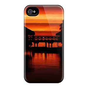 AWU DIY4/4s Scratch-proof Protection Case Cover For Iphone/ Hot Tropical Sunset Phone Case