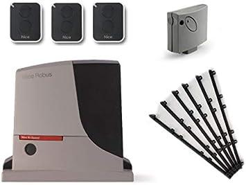 Nice ROBUS 500 HS (RB500HS motor + SMXI receptor + 3 X ON2E transmisores) para el accionamiento rápido de puertas correderas de hasta 8 m o 500 kg, 24 Vdc + 6m Cremallera nylon: Amazon.es: Bricolaje y herramientas