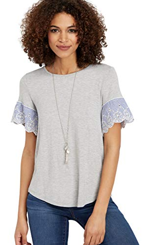 let Stripe Sleeve Top X Small Gray ()