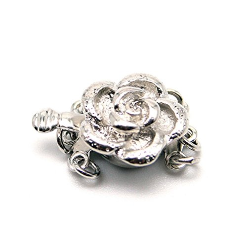 Beautiful Bead Rose 3 Strand Box Clasps for Jewelry Making Silver Color