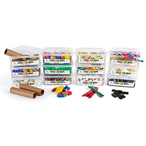 hand2mind STEM Bins by Brooke Brown, Essentials Kit, 12-Bin Makerspace Set with 18 Manipulatives by hand2mind (Image #1)