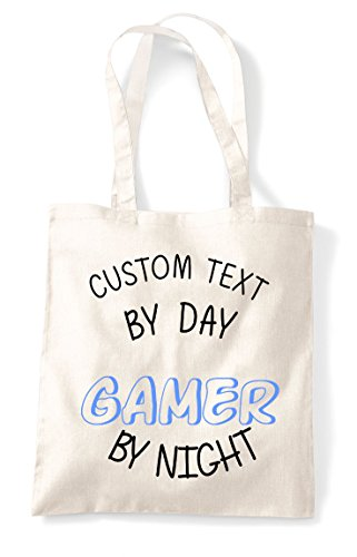 Bag Personalised Tote Gamer Shopper By Natural Day Custom Gaming Text Statement Night fq7BBx