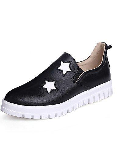 ShangYi Zapatos Mujer - Mocasines - Oficina y Trabajo/vestir/Casual - cerrada/Punta redondeada - Bajo - Piel Sintética - Negro/Blanco, blanco: Amazon.es: ...