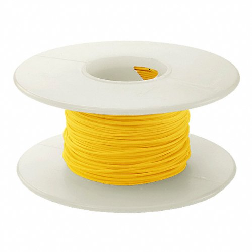 Jonard KSW26Y-0100 Yellow Kynar KSW Insulated Silver Plated Copper Wire, 26 AWG Wire Size, 0.027'' Insulation Diameter, 100' Length