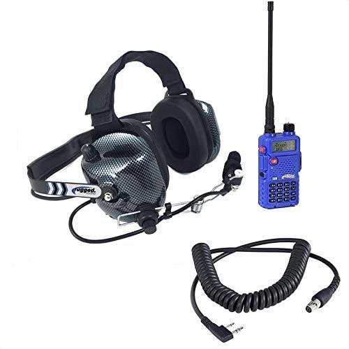 Rugged Radios VHF UHF Dual Band RH-5R 5 Watt Two Way Handheld Radio and Headset Crew Chief Spotter Package