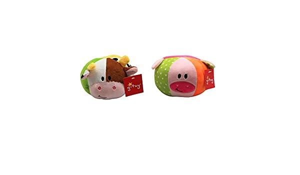 Bright Colors Cow /& Pig Sounds and Soft Texture Stimulates Sensory Development in Children Fidget or Relaxation Toy for Babies Plush Animal Rattle Balls by Forest /& Twelfth,Great Bedtime