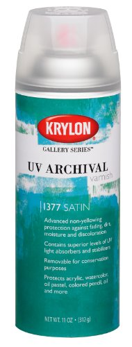 Krylon K01377000 Gallery Series UV Archival Varnish Aerosol Spray, Satin, 11 Ounce