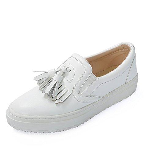 GTVERNH Hembra Primavera Salvaje De Fondo Plano Cabeza Redonda Pedal Perezoso Con Flecos De Fondo Grueso Lok Fu Zapatos. white