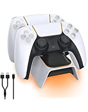 NexiGo Dobe Upgraded PS5 Controller Charger, Playstation 5 Charging Station with LED Indicator, High Speed, Fast Charging Dock for Sony DualSense Controller, White