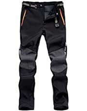 FEDTOSING Men's Outdoor Softshell Trousers Fleece Lined Windproof Water Resistant Pants Fishing Walking Warm with Zipper Pockets