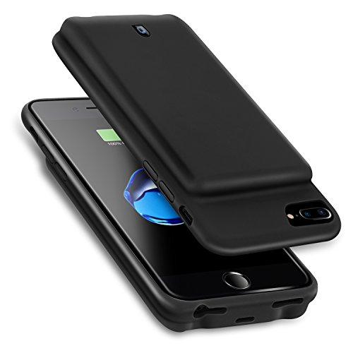 For iPhone 8 Plus/7 Plus/6s Plus/6 Plus Battery Case, Ultra Slim Portable Charging,koogoo 7000mAh Capacity Support Headphones Smart Extended Battery Rechargeable Protective Charger 5.5 (Black)