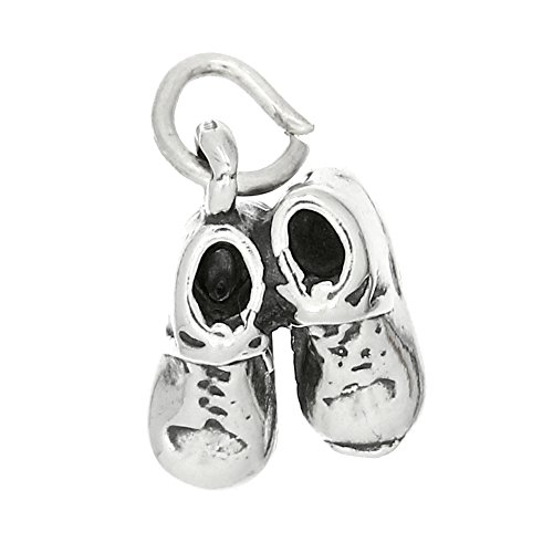 - Sterling Silver Oxidized Three Dimensional Baby Shoes Booties Charm
