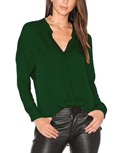 Dohia Women's Casual V Neck Chiffon Blouses Long Sleeve Loose Tops Shirt C2613 (XL, Basil Green)