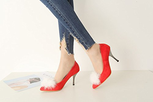 Aisun Damen Klassisch Runde Zehen Low Top Stiletto High Heels Pumps mit Kunstfell Rot