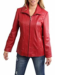 Womens Classic Zip Up Real Leather Semi Fitted Lambskin Jacket Julia Red