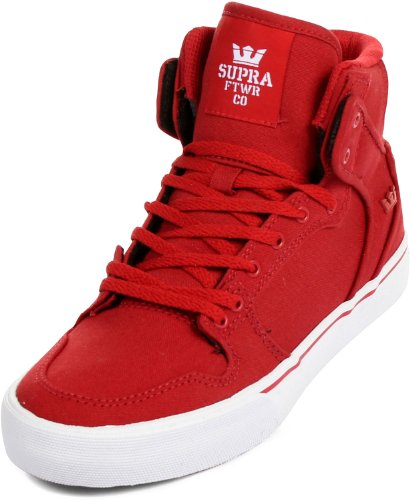 Supra Unisex 'Vaider' Kids Sneakers EUR 38 Red and white